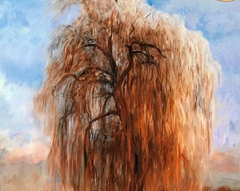 Nature Art Willow Tree Oil Painting - Large Willow Tree Painting 16x20in