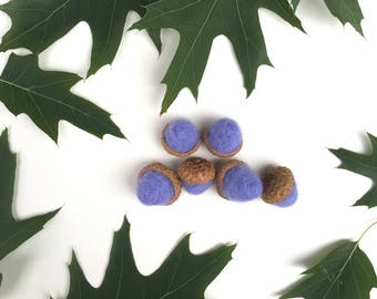 Felted Acorns,Set of 6,Decor,Natural Acorns,Wool Acorns,Gift,Handmade Acorns,Blue Acorns,Needle Felted Acorns,Felted Wool Acorns,Fall Decor