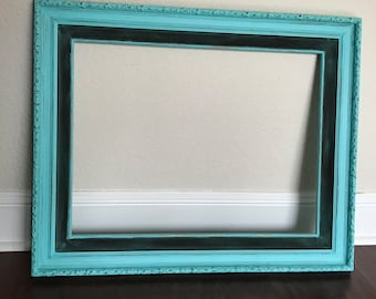 Large Vintage Wood frame Turquoise Shabby Chic Aqua wall hanging Antique Distressed Reclaimed  Salvaged Rustic