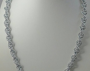Silver Double Helix DNA Chainmaille Necklace Chainmail