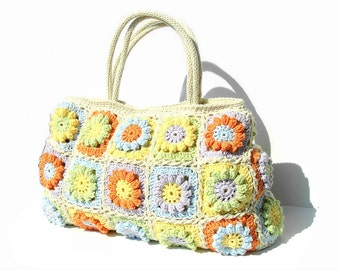 Women boho hippie bag summer floral purse crochet satchel unique designer handbag bohemian tote eco friendly flowers everyday shoulder bag
