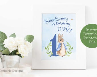 Some Bunny is One, Peter Rabbit Birthday Party, First Birthday Decorations, Peter Rabbit Welcome Sign, Printable, INSTANT DOWNLOAD