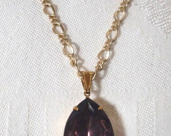 Necklace; Vintage Amethyst Rhinestone/Brass Pendant with Satin Hamilton Gold-Plated Figaro Chain & Vintage Amethyst Rhinestone/Vermeil Clasp