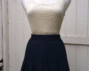 Nautical 60s Pleated Tennis Skirt Navy Blue Vintage Retro Sport