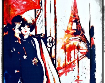 Parisian Romance Watercolor Illustration by Lana Moes, Art Print, Travel Wanderlust, Paris Decor, Romantic Watercolors, Anniversary Gift