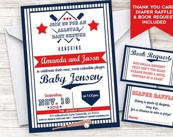 Baseball Baby Shower Invite Bundle Invitation Sprinkle 5x7 Allstar Slugger Digital Personalized