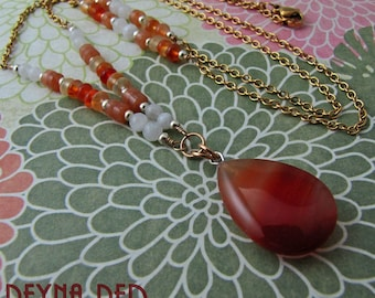 Amulet, Inspired Prosperity, good luck charm, totem necklace, amulet necklace, gemstone healing, reiki, red aventurine amulet by reynared