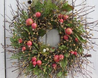 Berry Wreath - Primitive Country Wreath - Twig  Wreath - Rustic Wreath - Spring/ Summer Wreath - Bird Nest Wreath - Spring Wreath - Spring
