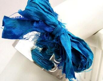 Blue Ribbon Lace Up Cuff, Blue Bracelet, Hammered Cuff, Corset Bracelet, Silver Cuff, Wide Cuff, Silk Sari Ribbon, Handmade
