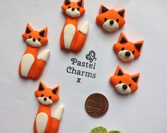 Clay Flatback fox embellishment deco cute flatback charm