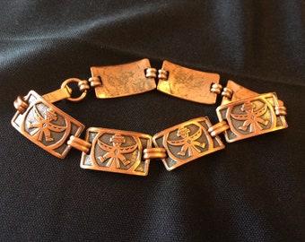 Southwest Vintage Birdman Native American Link Bracelet 1970's