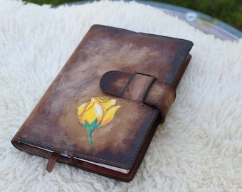 Hand Painted Refillable Leather Journal Cover / Aged Leather Bound Book Cover / Handmade Leather Journal Cover / Roses Notebook Cover