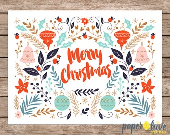 Merry christmas card / Holiday card set / Christmas card set / Christmas greeting cards / printed cards