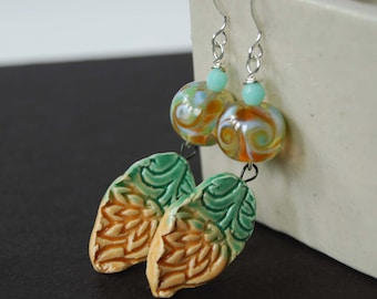 Leaf Earrings, Flower Earrings, Lampwork Glass Earrings, Ceramic Drop Earrings, Green Earrings, Glass Bead Earrings, Long Earrings