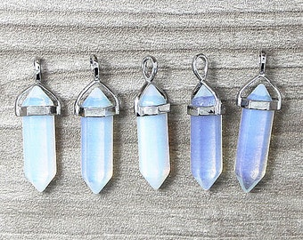 Polished Opal Opalite Point Pendant, Crystal Quartz Druzy Pendant With Silver Plated Bail - 1, 5, 10, 30, 100pcs