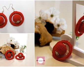 Handmade crochet earrings, crochet, cotton, red, sphere-model Universe