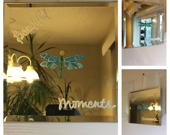 Hand painted and etched home decor mirror