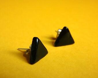 Black triangle earrings, ceramic stud earrings, earring studs, black earrings, minimalist, minimal earrings, earrings for men, gift for men
