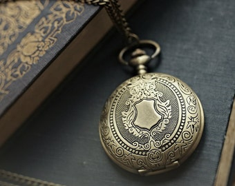 Brass Mechanical Pocket Watch -on Fob or Necklace