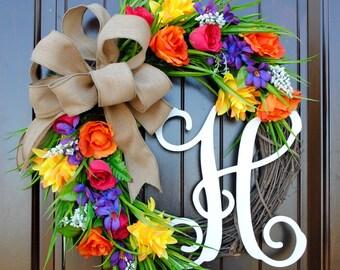 Mixed flowers~Monogram wreath~Spring wreath~Summer Wreath~Rose wreath~wreath with monogram letter~door wreath~front door wreaths