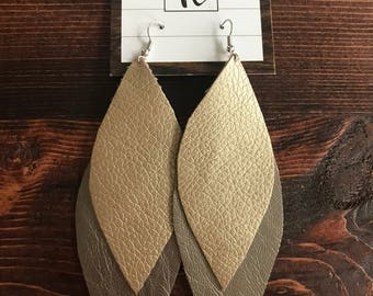 Faux Leather Double Earrings Large