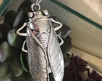 Cicada Necklace | Giant Cicada Necklace | Bug Necklace | Insect Necklace | Beetle | Silver | Steampunk Necklace | Gift for Her | Anniversary