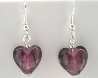 Purple Glass Love Heart Earrings with Sterling Silver Hooks New Drops LB12
