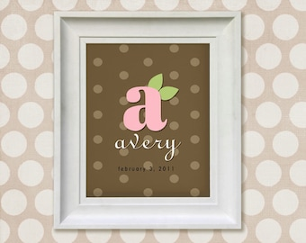 Nursery Decor Art Print - 11x14 Brown and Pink Monogram Personalized Baby Room Decor