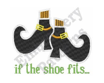 If The Shoe Fits - Machine Embroidery Design - 4 X 4 Hoop, Witch's Shoes, Halloween Embroidery