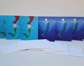 Mermaid and Whale Cards