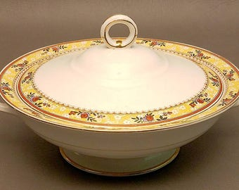 Vintage Johnson Brothers Round Covered Vegetable Bowl, Fine China Vegetable Serving Dish