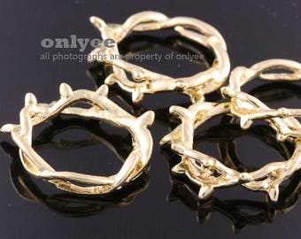 4pcs-28mmX28mm Gold plated  zinc Alloy a Crown of Thorns pendant, connector, charm(K312G)