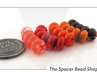 TOMATO HARVEST Red HALF Bead Sets Lampwork Spacers Glass Handmade - The Spacer Bead Shop