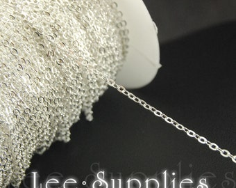 1.5x1mm Silver Plated Chain Flat Cable Necklace Chain - Soldered C10