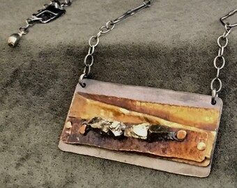 Patinated Sterling Silver Necklace with Pyrite, Bronze, Brass and Copper. Oxidized, Hammered, Folded and Stamped.