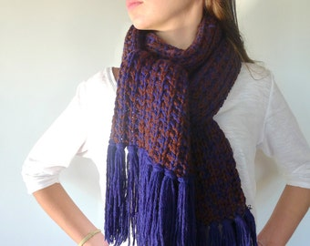 Hand knit scarf for men in brown and blue | Brown fringe scarf | Men's scarves | Men accessories