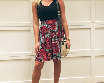 Vintage floral Print High Waisted Shorts