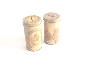 Vintage Hallmark tins. Mad Money & A penny saved is a penny earned tin piggy banks. Made in USA