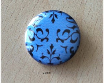"badge 25 mm ""turquoise"" arabesques"