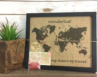 World map pin board etsy framed wanderlust push pin travel world map united states map us push pin map gumiabroncs Images
