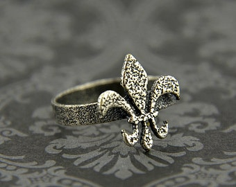 Silver Fleur De Lis Ring Solid White Bronze with Sterling Silver Overlay