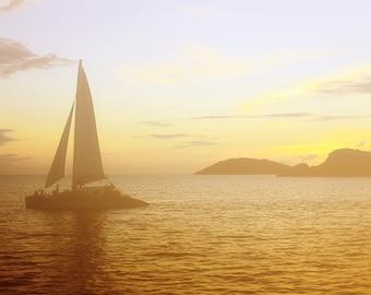 "Sail Boat Photograph ""Sunset Sail"" Fine Art Sunset Picture. Sea Ocean Photograph. Orange, Yellow, Island. St. John, USVI."