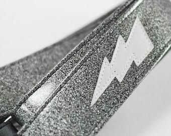 Silver Sparkle Lightning Bolt Guitar Strap
