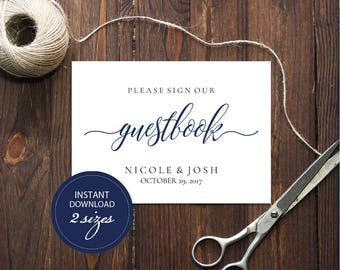 Editable PDF Guestbook Sign Navy Calligraphic Wedding Leave your sign Guestbook Template DIY Printable Editable Guestbook Sign #DP120_07