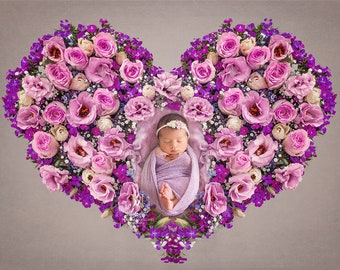 Newborn Digital Backdrop/ Prop / Photography /  Fresh flowers heart (Ireland)
