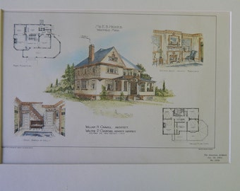 E. B. Hedges House, Westfield, Massachusetts, 1901, Cadwell & Crabtree, Architects. Hand Colored, Original Plan, Architecture, Vintage