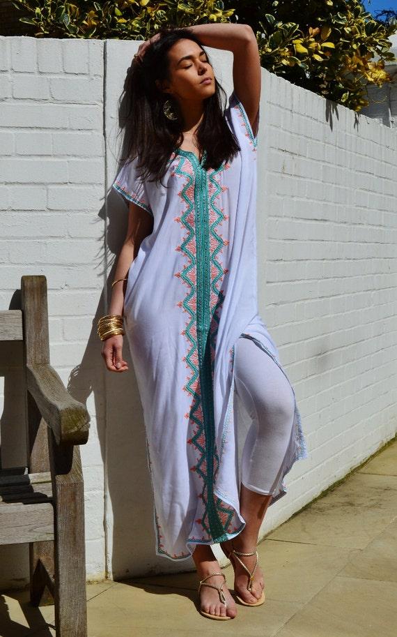 Trendy White Zahra Boho Caftan Kaftan -loungewear,resortwear,spa robe, great for Birthdays, Honeymoon, Wedding, Maternity gifts