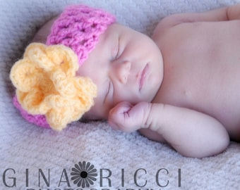 CROCHET PATTERN Baby Hat Blossom Flower Headband Photography Prop