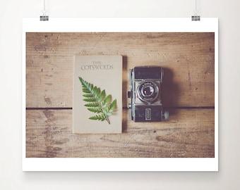 vintage camera photograph travel book photograph travel photography green fern leaf photograph rustic decor cotswolds photograph