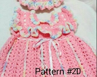 Crochet Pattern Baby dress pattern Baby hat pattern  Crochet pattern for baby girls Crochet baby pattern for girl babies.